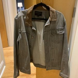 XL ALL SAINTS DENIM JACKET WITH SUEDE COLLAR